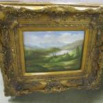 "Vintage Landscape Painting With Ornate Frame 27 1/2"" x 24 1/2"""