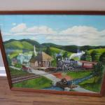 """Train Steaming Through A Town 25"""" x 21 1/2"""""""