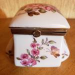 Vintage Floral with Gold Metal Hinge Porcelin Square Trinket Box by Lefton