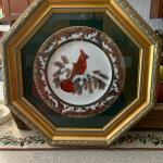 Framed christine Marshall cardinal plate 9'4
