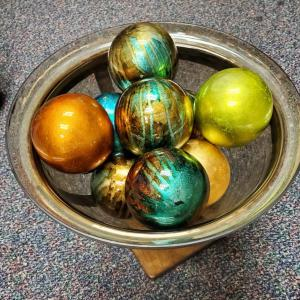Photo of Glass Pedestal Bowl with heavy glass balls