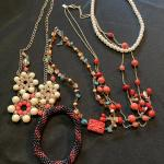 Mixed Necklace and Bracelet Lot with Red Beads and more