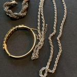 3 pc Jewelry Lot with Chains and Bangle