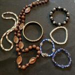 5 pc Necklace and Bracelet Lot with Inlaid Bangle and more