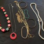 8 pc necklace and bracelet collection with Wood Square Bead necklace and more