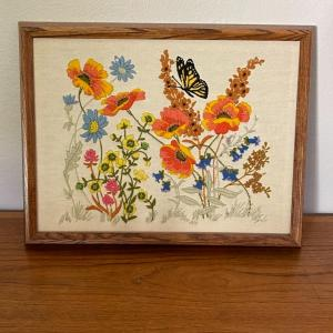 Photo of Lot 82 - Vintage Framed Crewel Embroidery