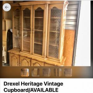 Photo of Lot 68 - Vintage Pecan Cupboard by Drexel Heritage