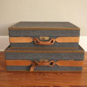 Photo of Lot 66 - TWO Blue Tweed Hartman Suitcases/designed by Halston