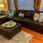 Leather couch and ottoman for sale
