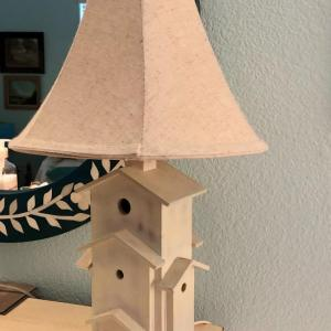 Photo of LOT 94-Birdhouse Lamp With Linen Shade