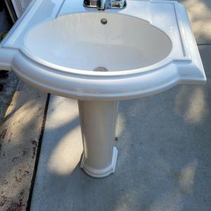 Photo of Bathroom Pedestal Sink and Mirror - sold as a set or separate
