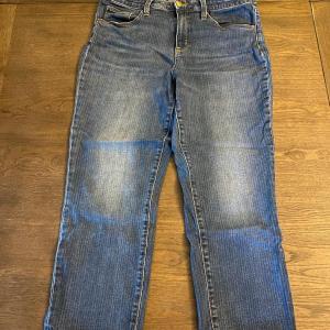 Photo of Universal Thread Pin Stripe Blue Denim Capri Straight Crop Pants High Rise Jeans