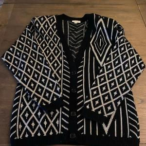 Photo of Retro Black & Gray Silver Geometric Diamond Button Front Cardigan Sweater