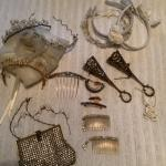 J982 Vintage Rhinestone Handbag, Combs, Headbands, Tussie Mussie
