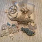 J977 Lot of Handmade Headbands, Hair comb, Barrette, 2 Garter Belts