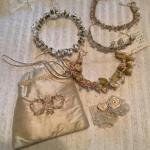 J975 Handmade Satin Purse with Four Floral Headbands