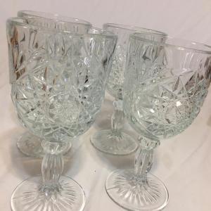 Photo of 4 Libbey Hobstar Heavy Cut Wine Glasses /Goblets 12 oz Star of David Stemware