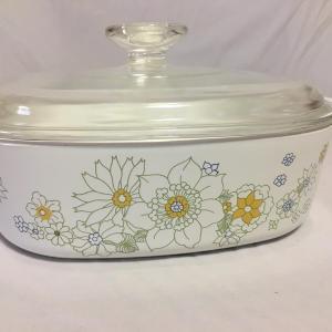 Photo of Vintage Corning Ware Floral Bouquet A-2-B 2QT Casserole Dish w/ Pyrex Lid