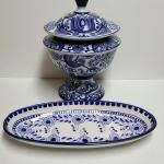 Lot 135: Large Blue & White Ginger Style Jar & Decor Plate