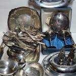 Lot 217: Vintage Silver-plate/Stainless Serving Pieces (Flatware from Bellevue-S