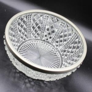 Photo of Vintage Crystal Glass Diamond Pattern Decorative Serving Bowl
