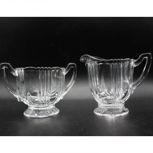 Photo of Pair of Vintage Mini Creamer & Open Lid Sugar Tea Glassware by Fostoria