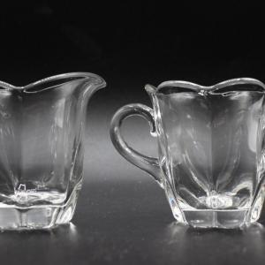 Photo of Vintage Clear Fostoria Glass Cream & Sugar Set