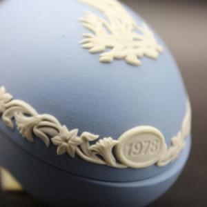 Photo of Wedgwood Blue Jasperware Crane Trinket Box Easter Egg for 1978