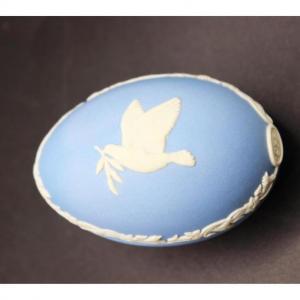 Photo of Wedgwood Blue Jasperware Dove Trinket Box Easter Egg for 1977