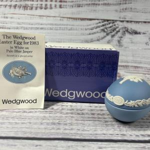 Photo of Wedgwood Sparrow Bird Jasperware Trinket Box Easter Egg for 1983