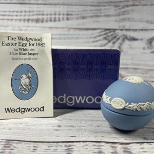 Photo of Wedgwood Kingfisher Easter Egg for 1982 in White on Pale Blue Jasperware Trinket