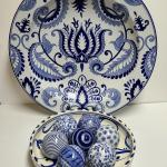 Lot 134: Pier One Bowl with Blue/White Balls and Hanging Wall Art Oversized Plat